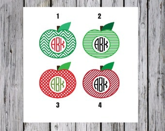 Apple Monogram Decal, Monogram Apple, Car Decal, Apple Car Decal, Teacher Decal, Apple Decal, Gift for Teacher, Personalized Decal