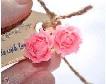 Peony earrings Polymer clay flowers Pink flower earrings Polymer clay rose Polymer clay jewelry Rouge flowers Flamingo peony jewelry Gift