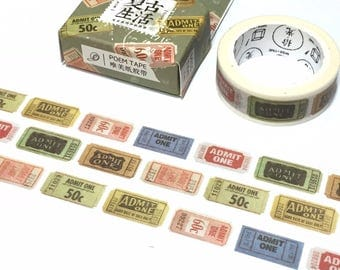 vintage movie ticket washi tape 7M cinema theatre tickets label postage stamp sticker tape admit one retro cinema decor classic movie gift