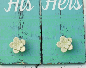 his and hers towel hooks, pair
