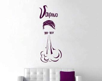 Vape Shop Wall Decal Vape Wall Stiker Vaper Decal Smoke Vinyl Vaping Decor Vaping Wall Decal kik3217