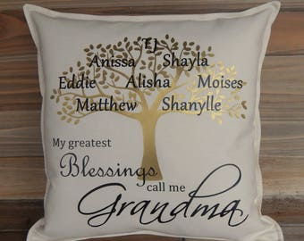 Family Tree Pillow Cover 16x16, Grandma Gift, Personalized Family Tree, Great Mother's Day Gift, Personalized Gifts