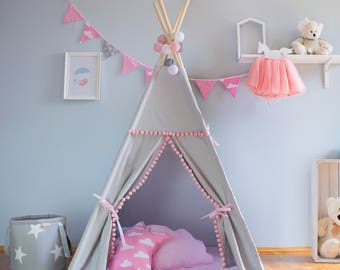 Teepee, gray and pink,pompons, tipi, children's teepee, playtent, zelt, wigwam, tent, kids teepee,  high quality teepee