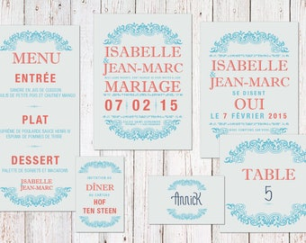 Coral Blue theme wedding invitation
