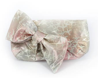Kimono Obi Bow Clutch | Cranes on Pink, silver and bronze | Upcycled Japanese Vintage Textiles Purse
