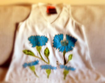 Little white tunic, Brand new, TopShop, Squill, Hand painted, Best tunic for you, Unique hand painted, Amazing gift for her