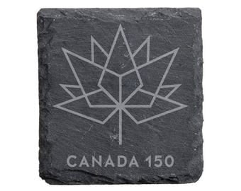 Canada 150 Engraved Slate Coaster Set