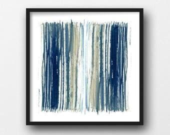 Geometric Art, Indigo Blue & Beige Stripes Print, Abstract Art, Fine Art Prints, Abstract Watercolor, Scandinavian Print, Minimalist Poster