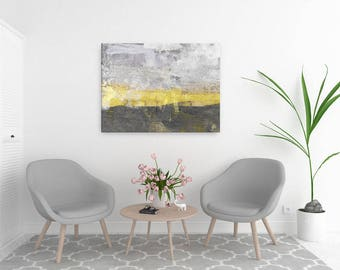 Yellow & Gray Abstract Art, Abstract Landscape Painting, Minimalist Art, Large Canvas Art, Extra Large Wall Art, Yellow Sunset Painting