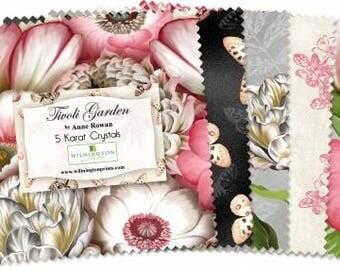 "Tivoli Garden 5 Karat Crystal by Anne Rowan for Wilmington Prints, charm pack 42 5"" square, Q508-500-508, precut, quilting, cototn fabric"