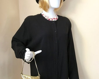 SPRING SALE Vintage 1980s Black Long Blouse by Field Manor (Marshal Fields) Size L (Black top only)