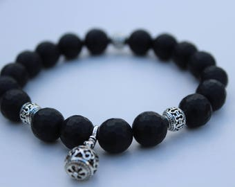 Sophisticated MENS Faceted Black Onyx Bracelet with Tibetan Silver Accents and Dangle