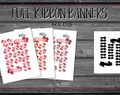Ribbon Banner, Red Tones Printable Planner Stickers | Apple, Coral, Wine | Decorative | Header Date Cover | watercolor