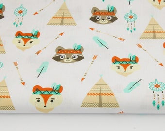 Fabric 100% cotton Indian teepee, animals on white 50 x 160 cm, 100% cotton fabric printed accessories.