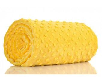 Half a metre coupon 50 minky fabric x 160 cm, yellow velvet fabric / plush