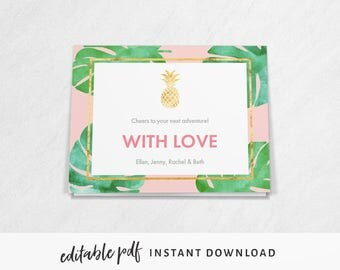 Tropical Pineapple Thank You Card / Well Wishes Card. Editable PDF for instant download, with pink and gold pineapple tropical theme.