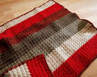 Crocheted baby car seat size blanket. Handmade blanket.
