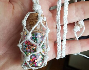 Glitter Hemp Necklace-Pixie Poka Dots