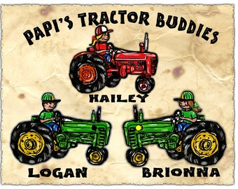Papa's Lil' Tractor Buddies Personalized T Shirt for PAPA, DAD,Grandpa Perfect Gift for HIM! This Will Be His Favorite Gift All Sizes Sm-3XL