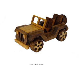 Jeep Wooden Car with intricate detail carved War Vehicle Soldier