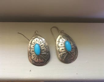 Turquoise + stamped silver