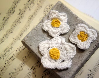 Crochet Applications-3 blossoms of cotton yarn