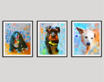 Watercolor dog portrait Custom dog portrait Custom Gift for pet lover Custom dog painting Dog portrait from photo Colorful dog art Mela Fay