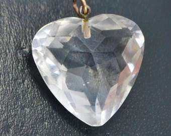 Antique Victorian ROCK CRYSTAL Faceted Love HEART Pendant with 9ct Gold Bale
