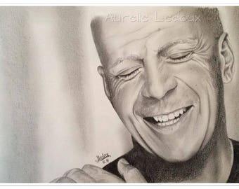 graphite pencil portrait of Bruce Willis
