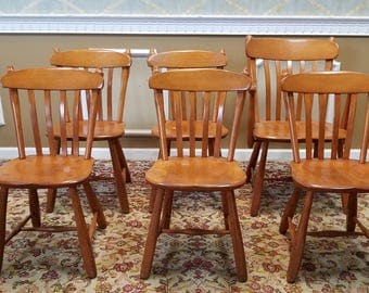 Set 6 1950s Solid Rock Maple Winchendon Furniture Old Meeting House Country Style Kitchen ~ Dining Chairs