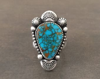 Handstamped turquoise mountain ring size 9.25