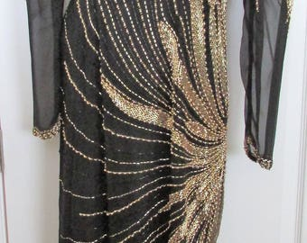 BLACK TIE Black With Gold Beading Gown–Size 8