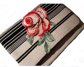 bag ceremony treated floral embroidery mosaic way on off white and black striped linen flap and strap hand embroidery