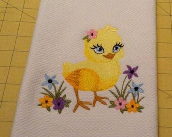 Spring Baby Chick! Williams Sonoma Embroidered Kitchen Hand Towel 100% cotton, 20 x 30