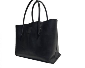 Big shopper black/leather case used look leather black/black Ledershopper leather bag shopper leather vintage design, handmade