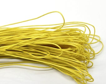 80 meters WAXED cotton thread cord 1 mm yellow color