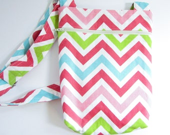 Pink Chevron Messenger Bag - Small Messenger Bag
