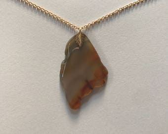 Vintage Natural Light Brown Agate Slice Geode 18K Gold Filled Pendant Necklace