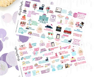 Wedding Planning Stickers perfect for your Planner, Journal, or Scrapbook