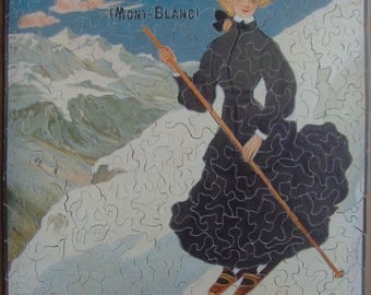 Puzzle wood 412 pieces, hand cutting, poster Chamonix PLM 1905. Wooden jigsaw puzzle