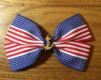 USA Flag Hair Bow