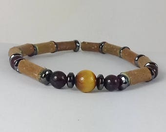 Wood Hazel and stones bracelet