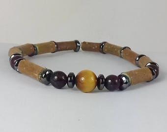 Wood Hazel and stones bracelet