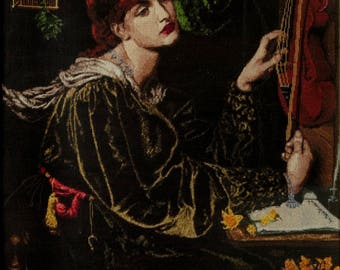 "Handmade Petit Point Gobelin ""Veronika Veroneze"" (after Dante Gabriel Rossetti painting)"