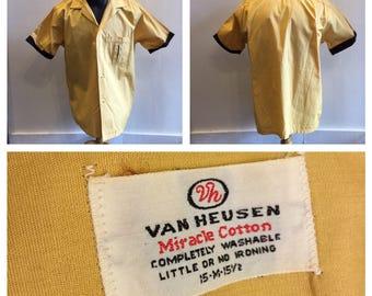 Men's Shirt 1950's by Van Heusen Yellow Cotton