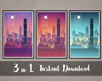 HONG KONG Skyline Instant Download Art Hong Kong Art Hong Kong Skyline Hong Kong skyline Hong Kong wall art Hong Kong Skyline print