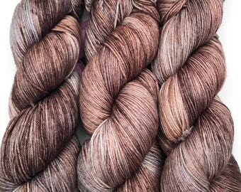"Hand Dyed Yarn ""Whippoorwill"" Grey Brown Tan Copper Speckled Merino Silk Fingering Superwash 438yds 100g"