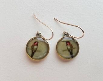 Vintage 3D Hummingbird Earrings