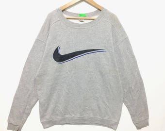 Vintage Nike Big Swoosh Logo Crewneck Sweatshirt Gray Color
