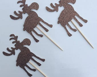 12 Moose Cupcake Toppers Glitter Cupcake Toppers Birthday Cupcake Toppers Animal Cupcake Toppers Woodland Cupcake Toppers